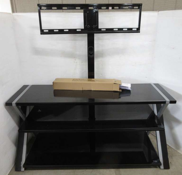"TV Stand with Glass Shelf, 51""W x 15""D x 24""H; TV Mount, 48""H"