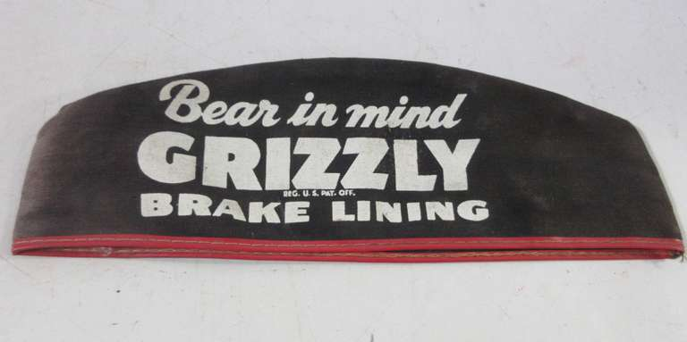 Old Grizzly Brake Lining Attendent Hat, From Fochtman Motor Co. Michigan, Made of Cloth