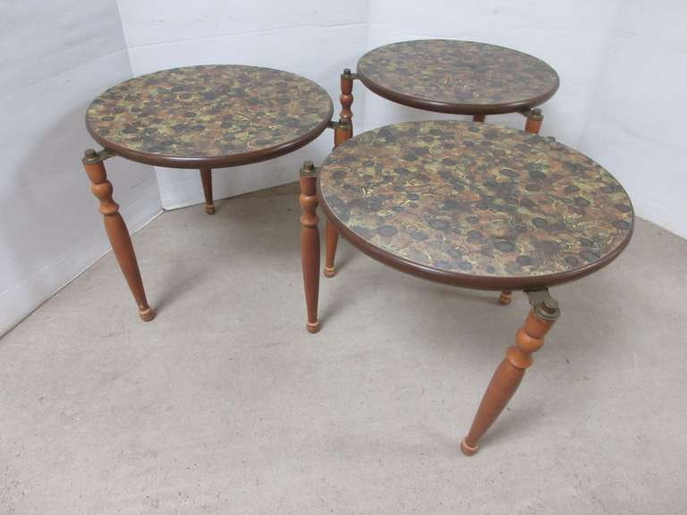 (3) Stacking Mid-Century Modern End Tables with Original Finish