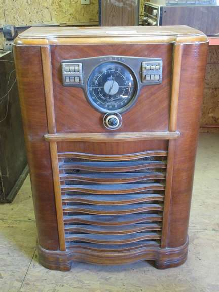 "Antique Zenith Radio, 13"" x 27"" x 41"""