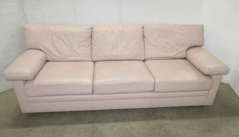Beige/Tan Distinction Leather Brand Full Size Leather Couch