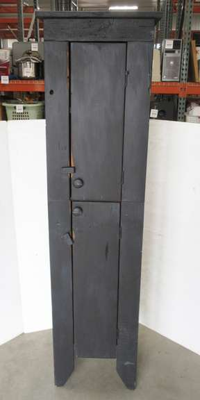 Primitive Distressed Skinny Cupboard with Two Doors and Four Shelves, Black Finish