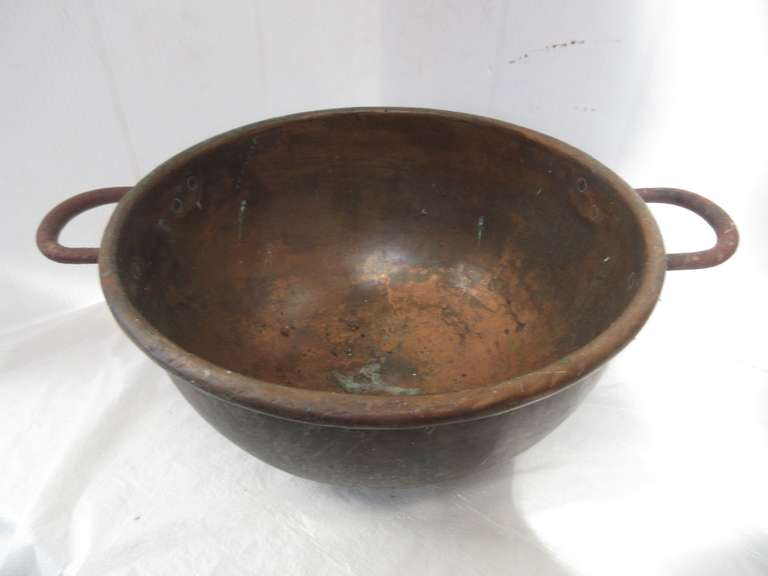 "Antique Heavy Copper Bowl with Wrought Iron Handles, 18"" x 8"", Nice"
