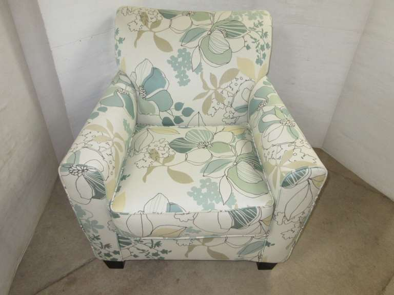 Flowered Chair with Shades of Teal, Tan, and Off-White