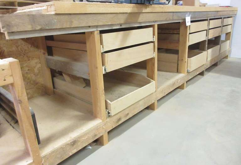 "Heavy Duty Wood Tool Bench w/ Drawers, 2"" Thick MDF Top, and Contents, 12' x 31"" x 3'"