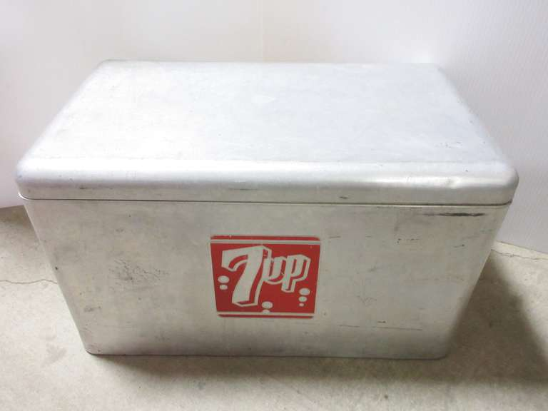 Antique 7Up Embossed Aluminum Advertising Cooler with Tray