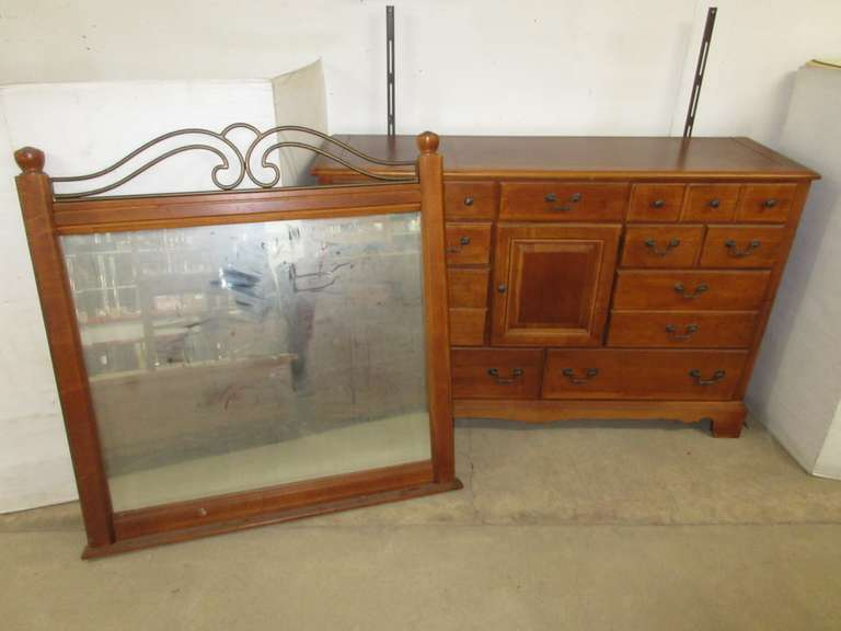 Long Dresser with Mirror, Matches Lot No. 10