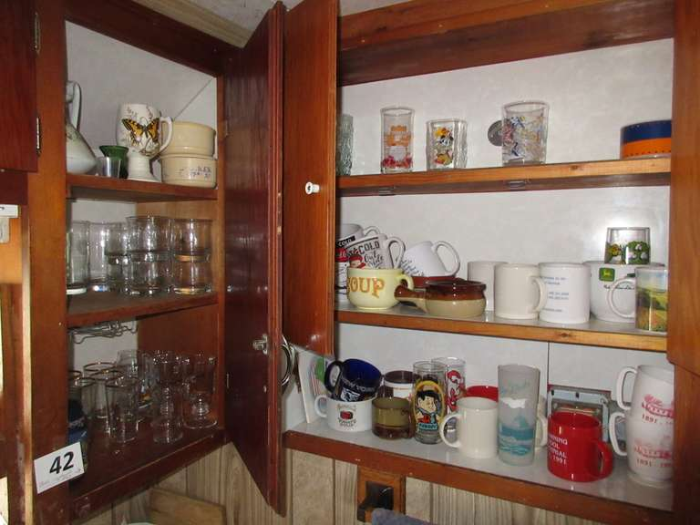 (2) Cupboards Full, Including:  Cups and More