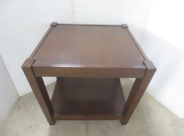 Mid-Century Dark Walnut Side Table with Shelf