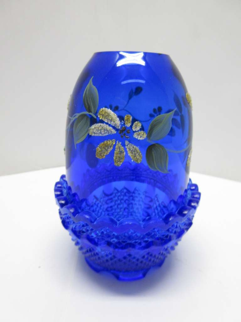 Fenton Fairy Light, Cobalt Blue with Flowers and Leaves, Signed Fenton on Bottom, Artist/Painter Signed on Rim of Globe, Fenton Sticker, Yellow/White and Sprinkled with Sand