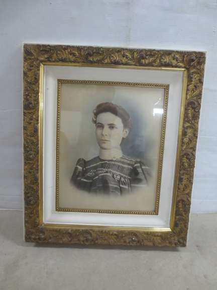 Older Picture Frame with Picture of Woman