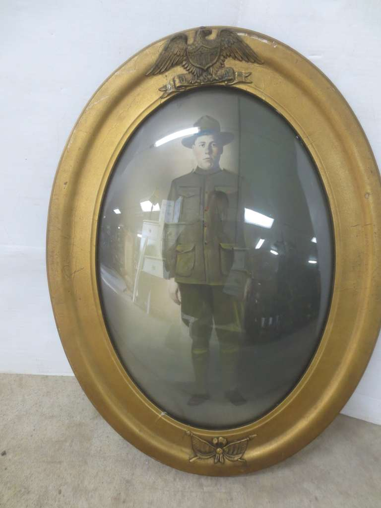 Antique Picture Frame, Gilded Frame with Bubble Glass and American Eagle, Proud American Soldier Picture