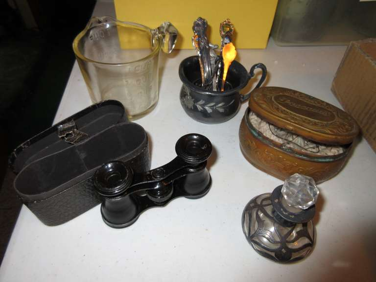 Mini Binoculars, Old Brass Pozzoni's Tin, Silver Cup with Spoons, Silver Overlay Perfume, Antique Measuring Cup