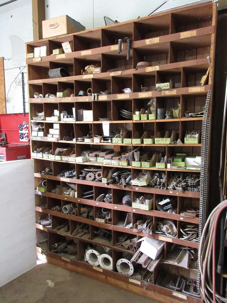 Entire Contents of Wall Unit, Includes: Lots of Timken Bearings, Sprockets, Springs, Chain, and Lots More, Wall Unit Sells with Contents if Wanted, Buyers Responsibility to Remove and Load