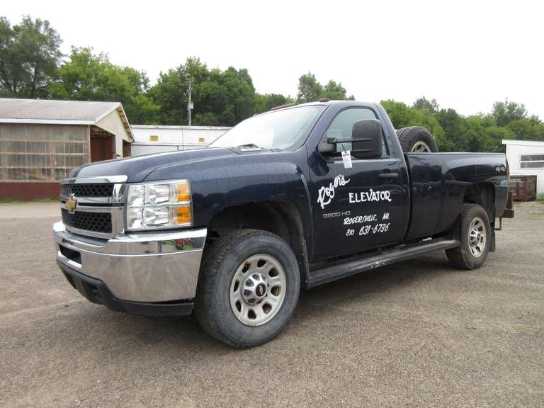 2012 Chevy 3500 HD 4WD Pickup, Cortec Engine, Power Windows and Locks, Air and Cruise, Only 57,000 Miles!, Has Remote Start (After Market), Comes with Original Tailgate and Bumper that are in New Condition, Runs Well, There is a Reese Hitch that Fits Truck and Selling Separately as Lot No. 265