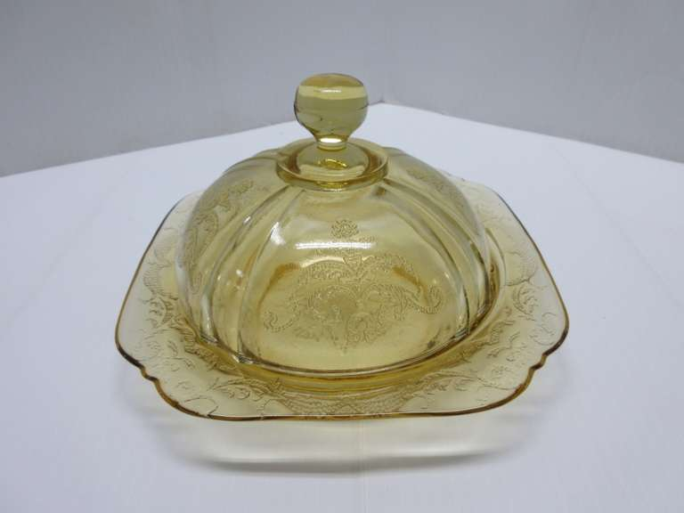 "Depression Glass ""Madrid"" Covered Butter Dish"