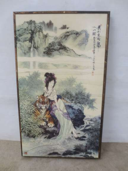 Japanese Girl with Tiger Woodblock Print
