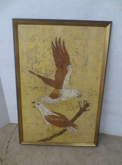 Hawks Framed Wood Print, Signed Kimi 70
