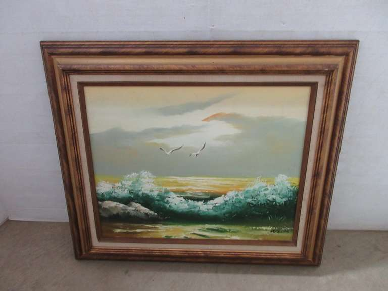 "Seascape Oil Painting, Signed by Artist ""Wells"""