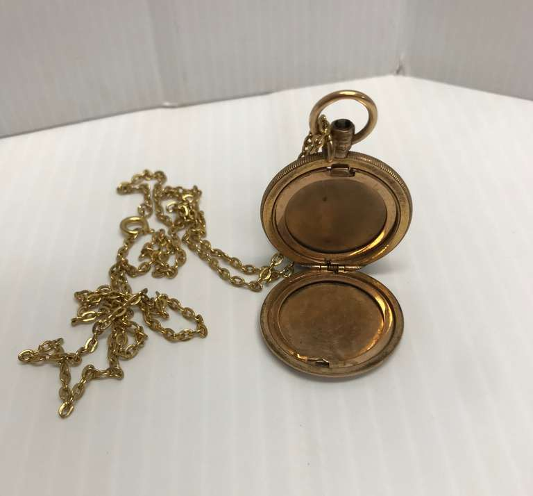 Antique Monogrammed Gold Filled Locket with Chain, Missing the Crown/Knob at Top Which Would Keep the Case Closed, Currently Will Not Close