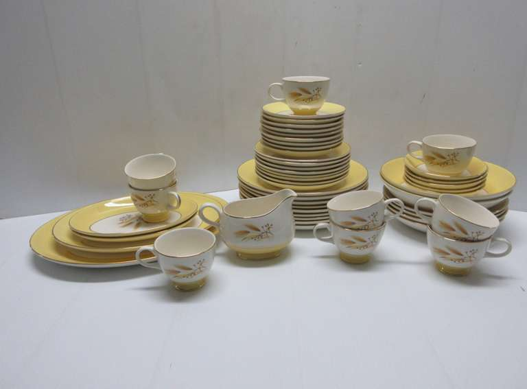 "Vintage 1950s Century Service Corp. Autumn Gold Dishes, Include: Serving Platter, 15""Oval; Serving Platter, 13""Oval; Serving Platter, 11""Oval; Creamer; (9) Footed Cups; (9) Saucers; (9) Dinner Plates; (8) Salad Plates; (2) Fruit/Dessert Bowls; (4) Coupe Soup Bowls; (5) Round Vegetable Bowls, 8""Dia"
