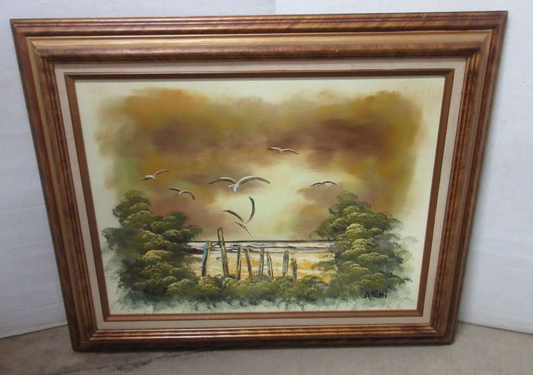 "Seaside Oil Painting, Signed by Artist ""Brent"""