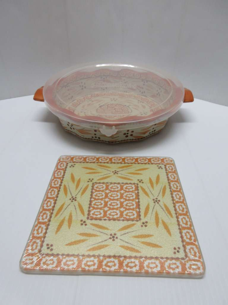 Temptations Pie Dish, Orange/Brown/Cream Color with Plastic Lid and Matching Hot Plate