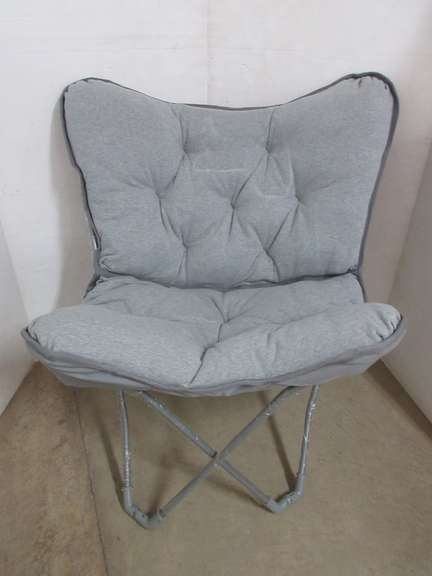 Padded Gray Butterfly Chair, Frame Fold Up