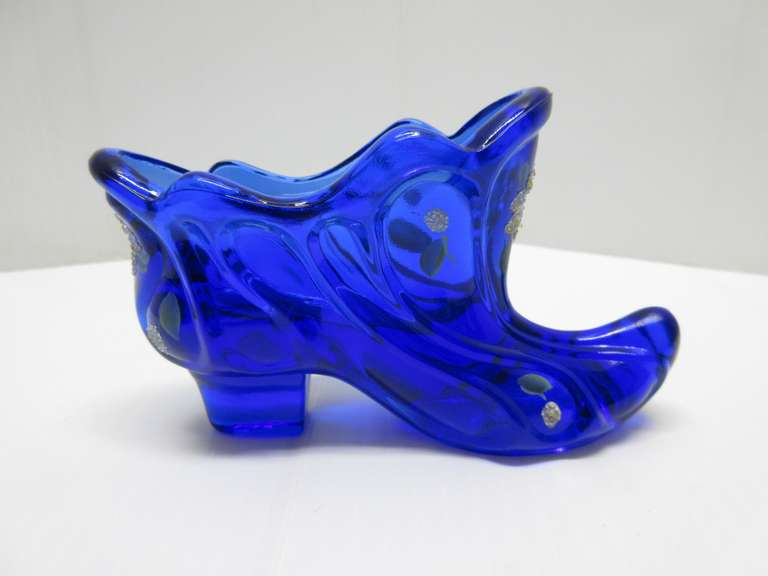 Fenton Boot Shoe, Cobalt Blue with Flowers on Front and Back Sides, Signed Fenton on Bottom of Shoe, Hand Painted and Signed on Rim of Bottom of Shoe
