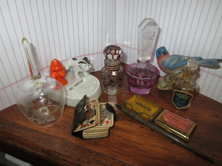 (3) Perfume Bottles (Roughness on Rim of Purple One), 2-Old Pen Tip Tins with Tips, Etc.