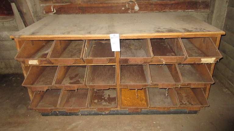 "Antique Storage Cabinet with Pull Out Bins, 64"" x 33"" x 33""H"