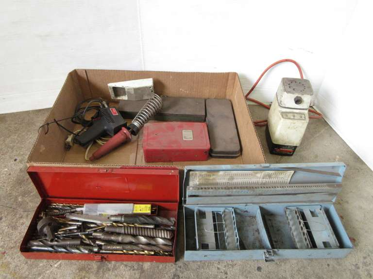 (2) Soldering Irons, Misc. Metal Boxes, Assortment of Drill Bits, and Bit Grinder, Works