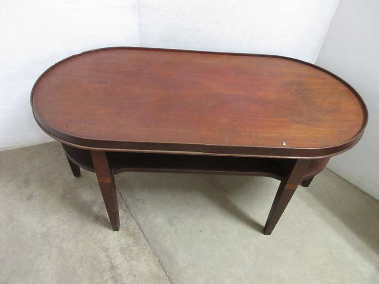 Older Oval End Table with Bottom Shelf, All Wood