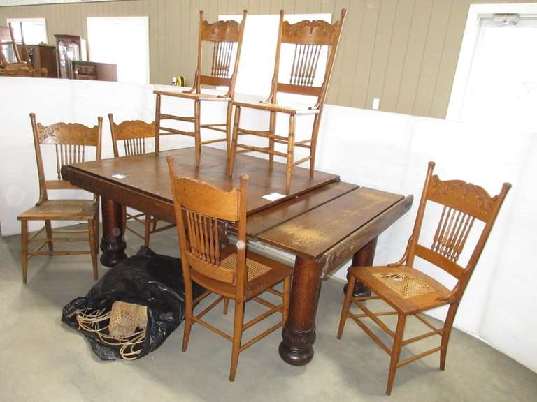 Albrecht Auctions Antique Oak Five Leg Table Self Storage Both Ends Pull Out To Hold Two Extra Leaves Each End 48 X 48 Table Extended 8 6 Matching Pressback Chairs One Needs