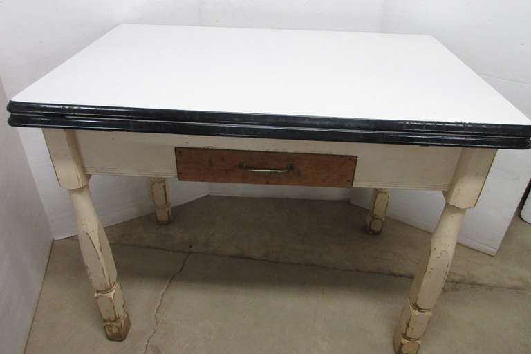 Antique White Extendable Table with Pull Out Drawer