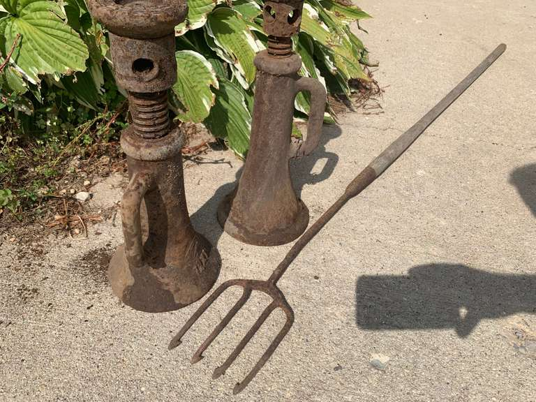 2 Rusted Screw Jacks and a Fishing Spear
