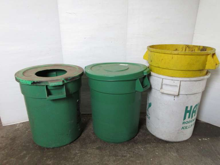 "(4) Plastic Waste Cans, 24""H"