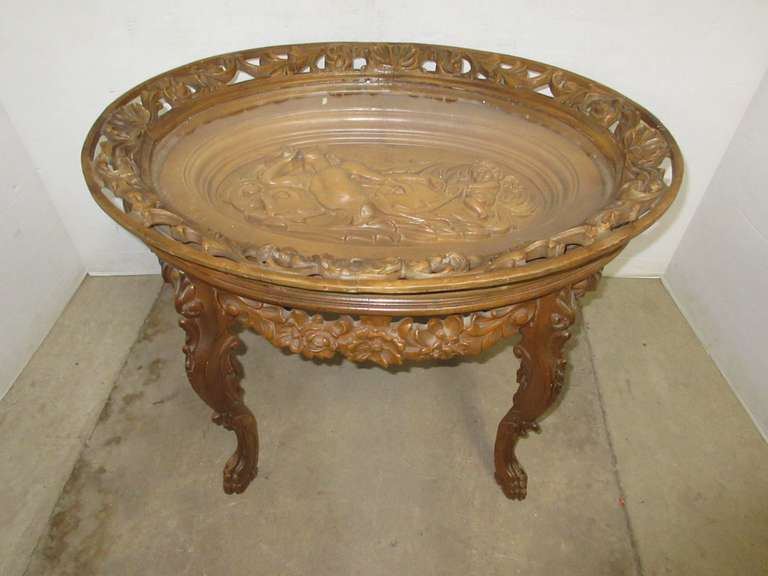 Carved Wood Coffee Table with Glass Top
