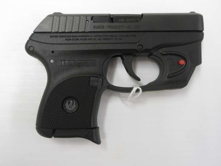 Ruger Semi-Auto LCP Pistol with Viridian Laser, .380 Cal Six-Round Magazine, USA Made, with Inside Pocket Holster and Cable Lock