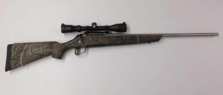 Remington Model 770 300 Win, Stainless Steel Barrel, Camo Stock, Detachable Magazine, and 3-9x40 Scope with Flip Up Caps