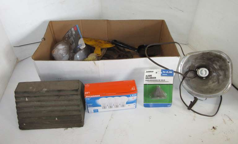 Group of Misc, Including: Heat Light, Wheel Chock, Paper Masks, Old Farm Wrenches, and More