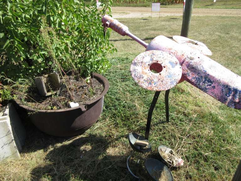 "Handmade Iron Flamingo, 4'L x 41""H; CI Scalding Kettle, 3'Dia x 21""H, and Gnome, 24""H"