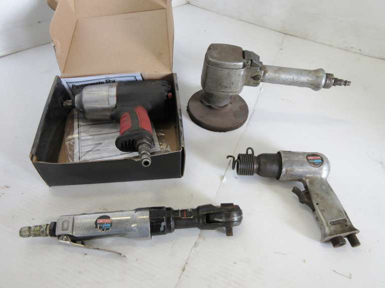 "Pneumatic Tools, Include: 1/2"" Powermate Impact, Craftsman Air Hammer, Craftsman 3/8"" Ratchet, and Old Grinder"
