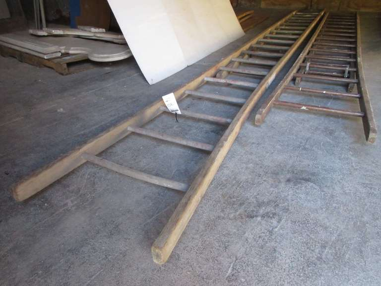 (2) Old Wood Extension Ladders, Largest- 36'