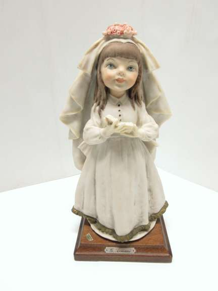 G. Armani Child Bride/First Communion Girl Statue/Figurine, Stamped 1982 Florence, Made in Italy