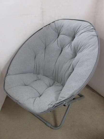 Padded Gray Collapsible Papasan Style Chair, Folds Flat for Storage