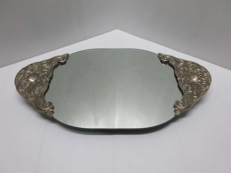 Older Dresser Tray Mirror with Four Small Legs and Silver Handles