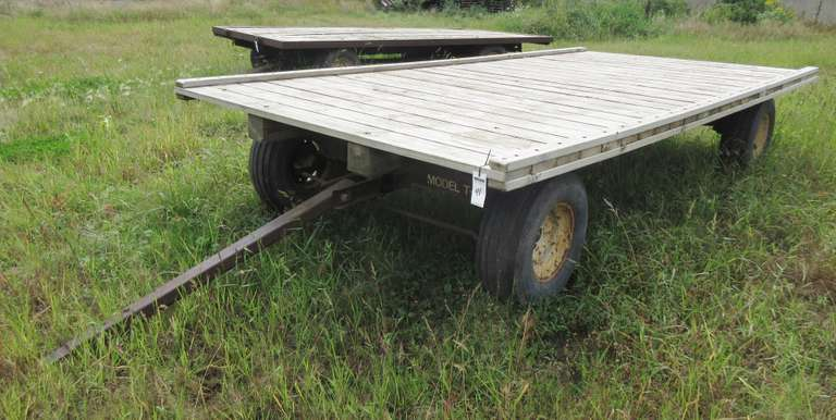 United Farm Tools 8-Ton Flat Rock Wagon, 16' x 8', Excellent Deck, Tires Checked but Hold Air