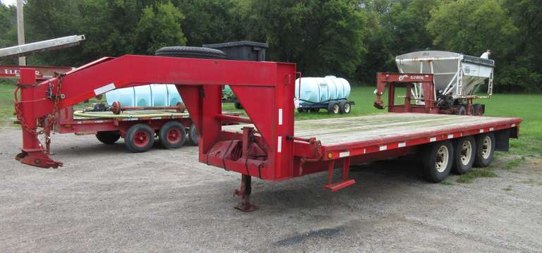 20' x 8' Tri-Axle Goose Neck Trailer with (2) Tarps, Matching Angler RST 22, ST235/85 R16 Tires, Plus a Spare