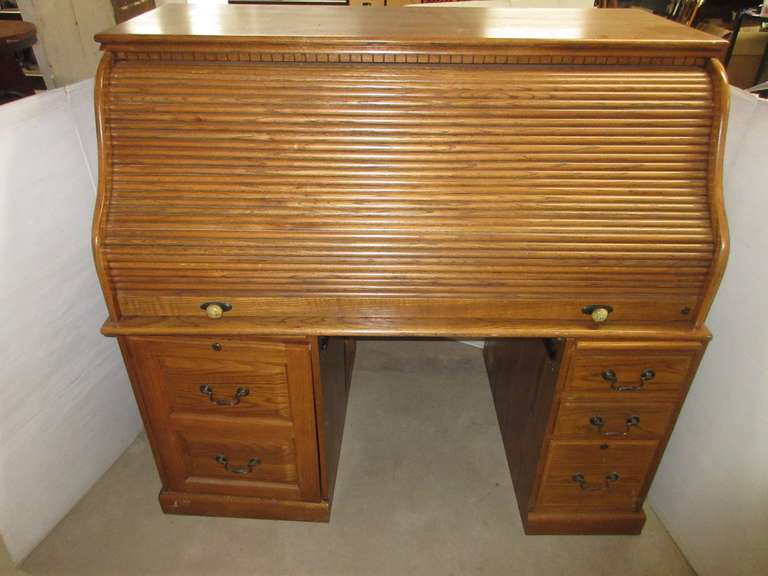 Oak Roll Top Desk, Very Heavy
